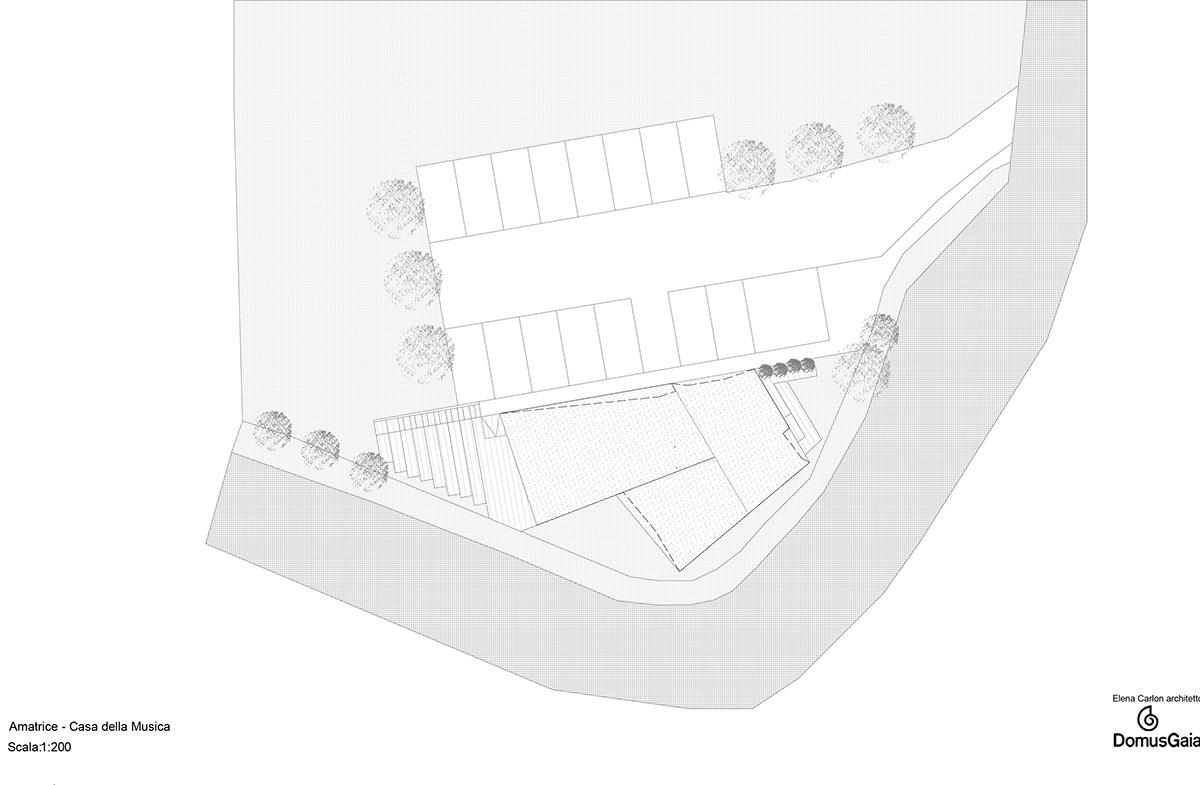 La Pianta della futura Casa della Musica di Amatrice